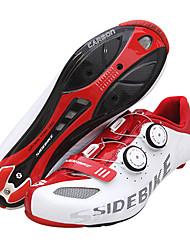 baratos -SIDEBIKE Tênis para Ciclismo Fibra de Carbono Prova-de-Água, Anti-Escorregar, Almofadado Ciclismo Vermelho / Branco Homens