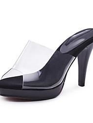 Недорогие -Жен. Комфортная обувь ПВХ Лето Сандалии На шпильке Черный / Красный