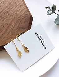 baratos -Mulheres Fashion / Contas Brincos em Argola - Tema Flores, Formato de Folha Pingente, Elegante Dourado Para Feriado / Aniversário