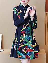 Недорогие -Жен. На выход Шинуазери (китайский стиль) Оболочка Платье - Цветочный принт, С принтом Воротник-стойка Мини
