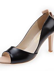 cheap -Women's Pumps Leather Summer Heels Stiletto Heel Peep Toe Black / Almond / Party & Evening