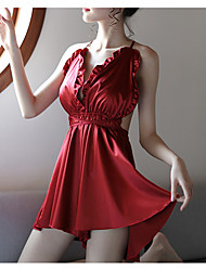 cheap -Women's Babydoll & Slips / Chemises & Gowns / Satin & Silk Nightwear - Backless, Solid Colored