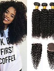 cheap -3 Bundles with Closure Indian Hair Kinky Curly Human Hair Gifts / Headpiece / Extension 8-24 inch Human Hair Weaves 4x4 Closure / Free Part With Baby Hair / Silky / Smooth Black Natural Color Human