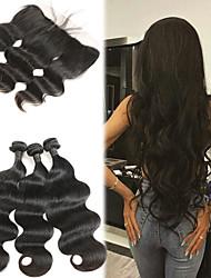 cheap -3 Bundles with Closure Brazilian Hair Body Wave Human Hair Human Hair Extensions / Hair Weft with Closure 8-26 inch Human Hair Weaves 4x13 Closure Soft / Best Quality / New Arrival Human Hair