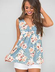 cheap -Women's T-shirt - Floral V Neck