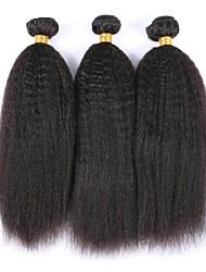 Недорогие -3 Связки Вытянутые 8A Натуральные волосы Необработанные натуральные волосы Человека ткет Волосы Удлинитель Пучок волос 8-28 дюймовый Естественный цвет Ткет человеческих волос