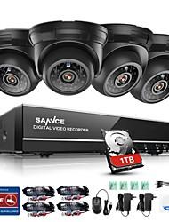 Недорогие -sannce® 4ch 4pcs 720p 1tb система безопасности hd tvi домашние наборы для наблюдения hdmi и ночное видение наружная камера cctv