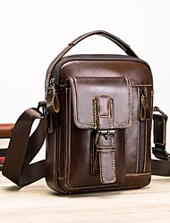 Недорогие -мужские сумки наппа кожаный мешок плеча молния темно-коричневый / черный / коричневый