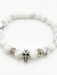 cheap -Men's White Turquoise Stylish / Beads Strand Bracelet - Skull Stylish, European, Trendy Bracelet White For Street / Going out