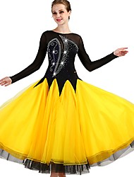 baratos -Dança de Salão Vestidos Mulheres Treino Fibra Sintética / Organza / Tule Cristal / Strass Manga Longa Alto Vestido