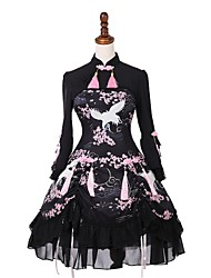 cheap -Sweet Lolita Dress Classic Lolita Dress Classic Lolita Traditional Lace Female Party Costume Masquerade Cosplay Black Flare Sleeve 3/4 Length Sleeve Knee Length Halloween Costumes
