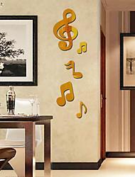 Недорогие -Музыка Зеркала Мода Наклейки 3D наклейки Зеркальные стикеры Декоративные наклейки на стены,Стекло материал Украшение домаНаклейка на