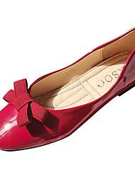 Недорогие -Жен. Комфортная обувь Полиуретан Осень Минимализм На плокой подошве На плоской подошве Бант Черный / Красный