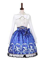 baratos -Doce Lolita Clássica e Tradicional Princesa Lolita Casual Feminino Saia Blusa / Camisa Baile de Máscara Cosplay Azul Bispo Manga Longa Até os Joelhos Trajes da Noite das Bruxas