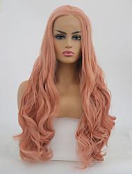 Недорогие -Синтетические кружевные передние парики Волнистый Розовый Средняя часть Оранжевый Искусственные волосы 22-24 дюймовый Жен. Регулируется / Жаропрочная Розовый Парик Длинные Лента спереди / Да