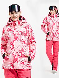 Недорогие -Жен. Лыжная куртка и брюки С защитой от ветра, Водонепроницаемость, Сохраняет тепло Катание на лыжах / Горные лыжи Хлопок, Полиэфир зима Флисовые жакеты / Флис / Снегурочка Одежда для катания на лыжах