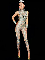 cheap -Dance Costumes Exotic Dancewear / Rhinestone Bodysuit Women's Performance Spandex Glitter / Ruching / Crystals / Rhinestones Sleeveless Leotard / Onesie / Bracelets