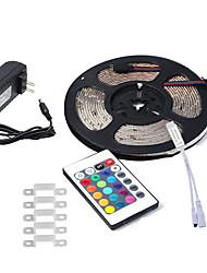 abordables -5m Bandes Lumineuses LED Flexibles 300 LED 3528 SMD 1 24Keys Télécommande / Adaptateur d'alimentation 1 x 2A RVB Imperméable / Découpable / Connectible 100-240 V 1pc / Auto-Adhésives
