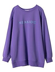 baratos -camisola de mangas compridas para senhora - carta / decote redondo em cor sólida