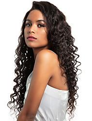 billige -Ubehandlet / Menneskehår 360 frontal Paryk Brasiliansk hår Løst, bølget hår Paryk Deep Parting 150% Naturlig / Bedste kvalitet / Mode Naturlig Dame Lang Blondeparykker af menneskehår