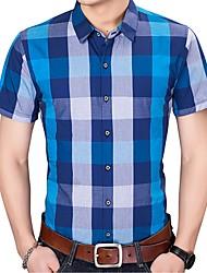 Недорогие -Муж. Рубашка Хлопок Классический В клетку / С короткими рукавами / Лето