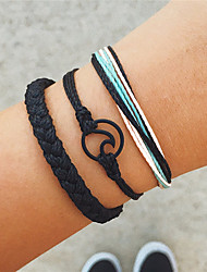 cheap -Women's Braided / Crossover Vintage Bracelet / Yoga Bracelet / Handmade Link Bracelet - Wave Bohemian, Punk, Fashion Bracelet Black For Gift / Evening Party / 3pcs