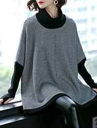 Недорогие -Жен. Длинный рукав Свободный силуэт Пуловер - Геометрический принт Хомут