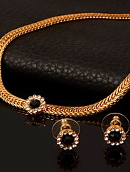 cheap -Women's AAA Cubic Zirconia Cuban Link / Thick Chain Jewelry Set - 18K Gold Plated Flower European, Trendy, Gothic Include Choker Necklace / Vintage Necklace / Earrings Gold For Daily / Bar