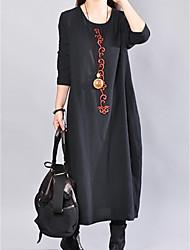 baratos -Mulheres Básico Solto Túnicas Vestido Sólido Médio Preto