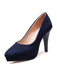 Недорогие -Жен. Полиуретан Весна Удобная обувь Обувь на каблуках На толстом каблуке Закрытый мыс Черный / Темно-синий / Винный / Повседневные