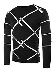 billige -Herre Basale Pullover - Stribet / Farveblok