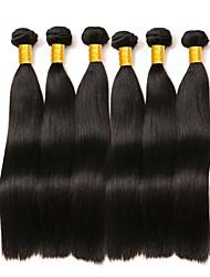Недорогие -6 Связок Бразильские волосы Прямой 8A Натуральные волосы Пучок волос One Pack Solution Накладки из натуральных волос 8-28 дюймовый Естественный цвет Ткет человеческих волос