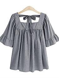 cheap -women's shirt - check boat neck