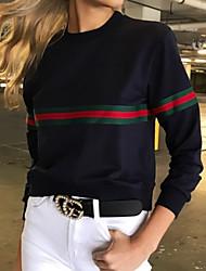 Недорогие -женская длинная рукавная рубашка - полосатая круглая шея