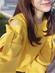 cheap -women's long sleeve pullover - solid colored round neck