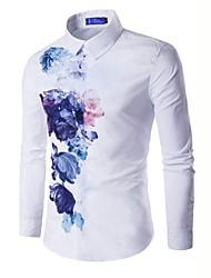 Недорогие -Муж. Рубашка Хлопок Тонкие Цветочный принт / Длинный рукав