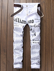 cheap -Men's Street chic Chinos Pants - Letter Black & White, Print
