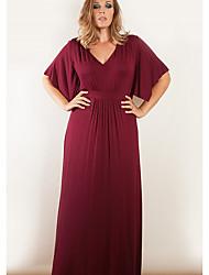 preiswerte -Damen Grundlegend Hülle Kleid Solide Maxi