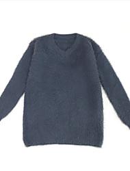 billige -Dame langærmet pullover - solid farvet v-hals