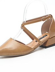 お買い得  -女性用 靴 PUレザー 夏 コンフォートシューズ ヒール ローヒール ポインテッドトゥ ブラック / ベージュ / Brown