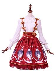 billiga -Söt Lolita Casual Lolita Klänning Söt Lolita Casual Lolita Dam Blus / Skjorta Festklädsel Maskerad Cosplay Vit / Röd Sydd spets Biskop Långärmad Knälång Kostymer