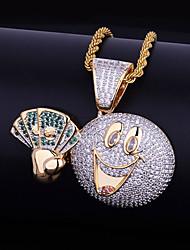 abordables -Hombre Circonita Elegante Collares con colgantes - Risa, Dólares Dibujos, De moda, Hip-Hop Dorado 51   61   76.2 cm Gargantillas 1pc Para Carnaval, Festivos