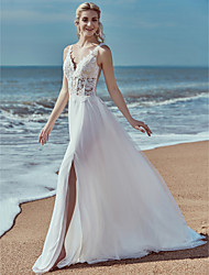 cheap -A-Line V Neck Sweep / Brush Train Lace / Tulle Made-To-Measure Wedding Dresses with Lace by LAN TING BRIDE® / Beautiful Back