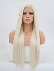 Недорогие -Синтетические кружевные передние парики Естественные кудри Kardashian Стиль Боковая часть Лента спереди Парик Блондинка Платиновый блондин Искусственные волосы 24 дюймовый Жен. / Жаропрочная / Да