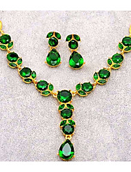 cheap -Women's Stylish / Link / Chain Jewelry Set - Resin Leaf, Pear Stylish, Classic, Elegant Include Drop Earrings / Pendant Necklace Purple / Green / Blue For Evening Party / Valentine
