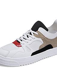 billige -Herre PU Forår / Efterår Komfort Sneakers Farveblok Sort og Hvid / Sort / Rød / Hvid / Gul
