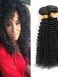 cheap -3 Bundles Mongolian Hair Kinky Curly Unprocessed Human Hair / Human Hair Gifts / Cosplay Suits / Natural Color Hair Weaves / Hair Bulk 8-28 inch Natural Color Human Hair Weaves Life / Smooth / Thick