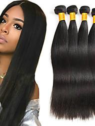 Недорогие -4 Связки Индийские волосы / Вьетнамские волосы Прямой Необработанные / Натуральные волосы Подарки / Косплей Костюмы / Человека ткет Волосы 8-28 дюймовый Ткет человеческих волос