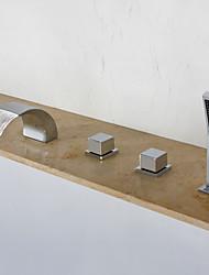 economico -Rubinetto vasca - Moderno Cromo A 3 fori Valvola in ceramica