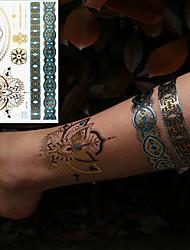 Недорогие -3 pcs Металлик Временные татуировки Тату с цветами / Романтическая серия Экологичные / Новый дизайн Искусство тела Корпус / рука / запястье / Металлические ювелирные татуировки